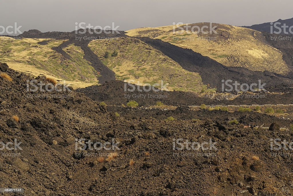View of the volcanic landscape around Mount Etna royalty-free stock photo