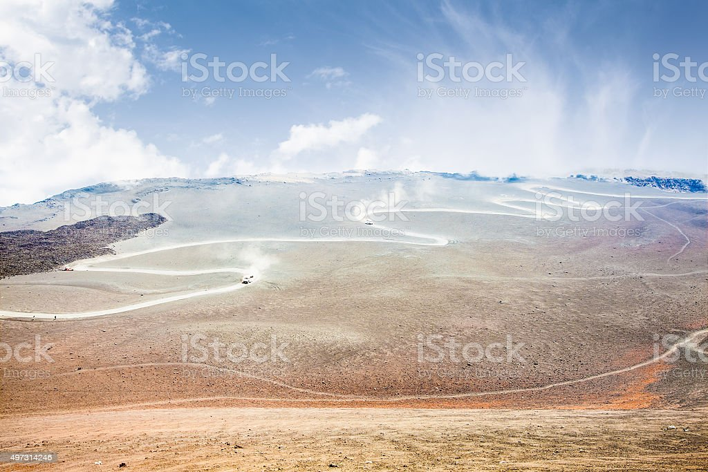 View of the volcanic landscape around Mount Etna stock photo