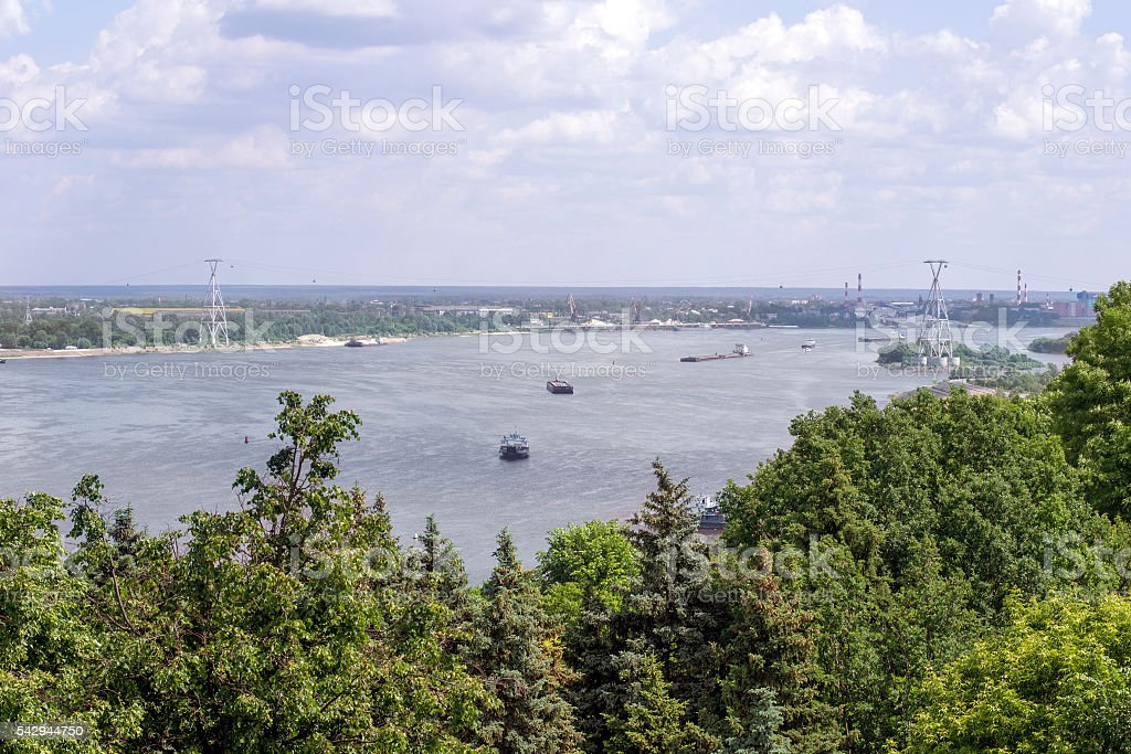 View of the Volga river and cable car stock photo