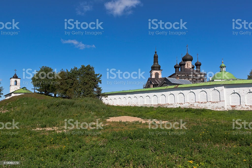 View of the Voskresensky Goritsky female monastery in Vologda region stock photo
