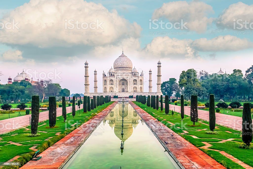 View of the water leading to the Taj Mahal in India stock photo