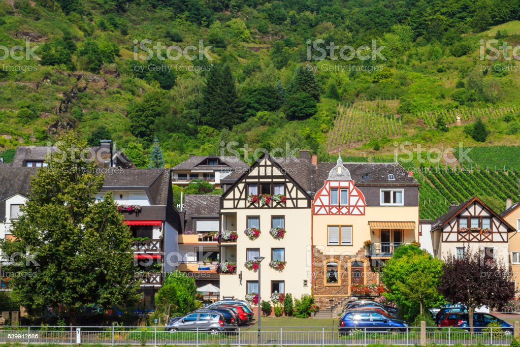 View of the wine town Cochem at the Moselle in stock photo