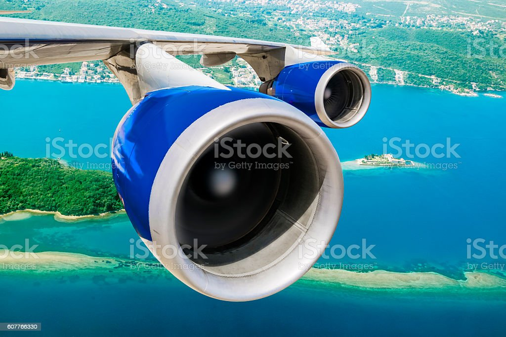 View of the wing of the aircraft stock photo