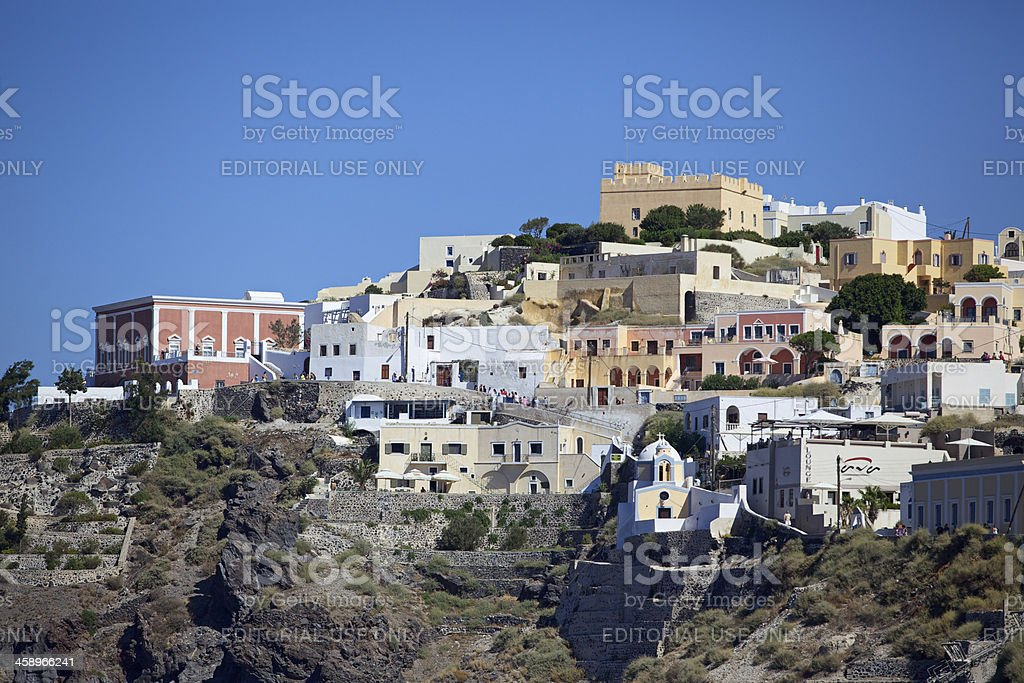 View of Thira in the early morning. Santorini. Greece. stock photo
