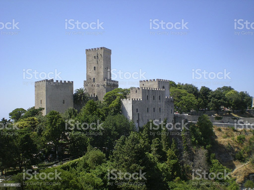 view of three ancient fortresses of Erice town, Sicily, Italy stock photo