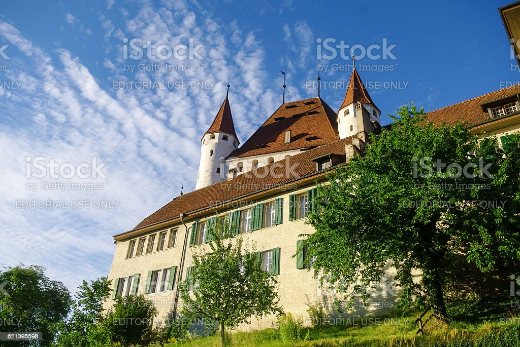 View of Thun medieval castle in the Thun city stock photo