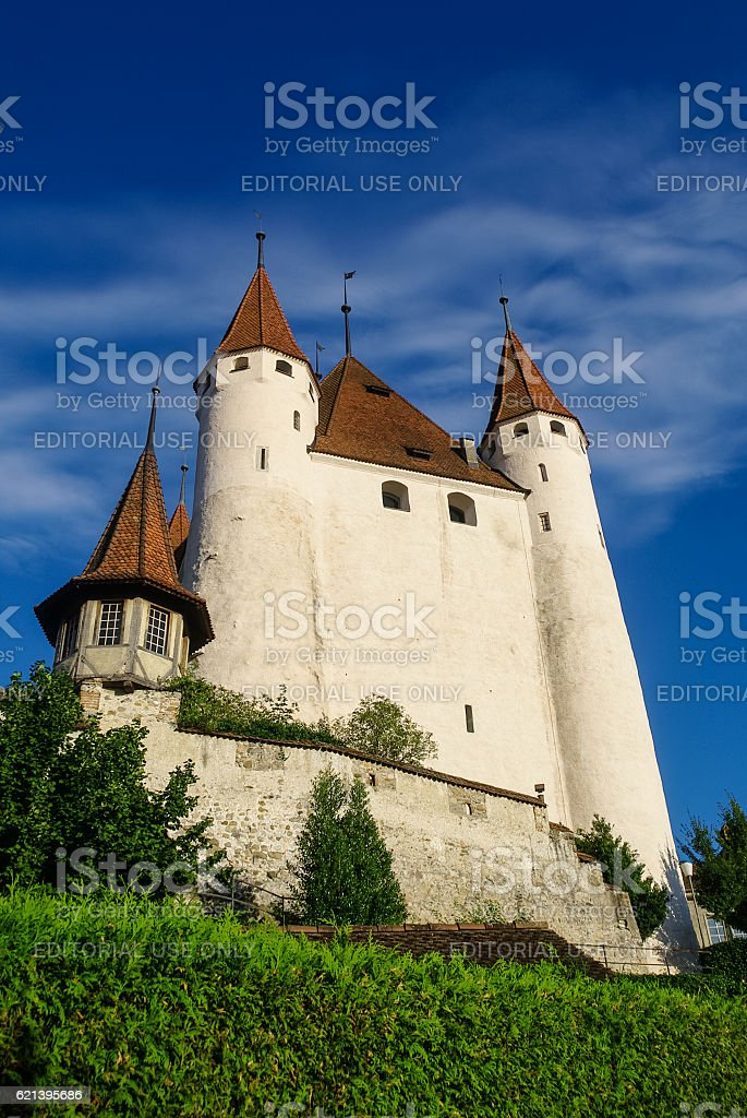 View of Thun medieval castle in the Thun city, stock photo