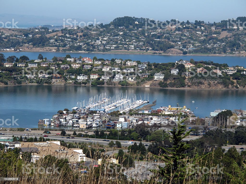 View of Tiburon and Belvedere from Sausalito stock photo