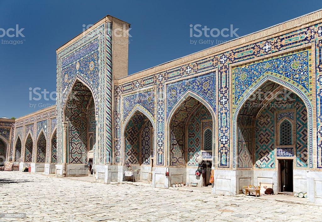 View of Tilla-Kari medressa - Registan - Samarkand - Uzbekistan stock photo