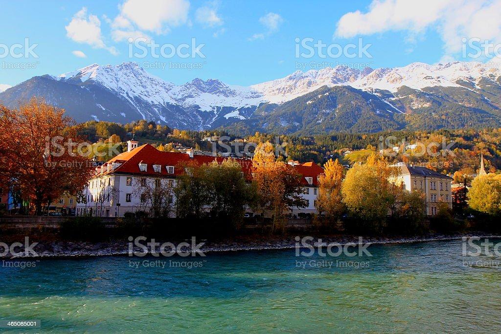 View of Tirol mountain range over Innsbruck autumn, Austria stock photo