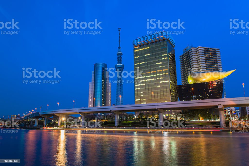 View of Tokyo skyline from Sumida river stock photo