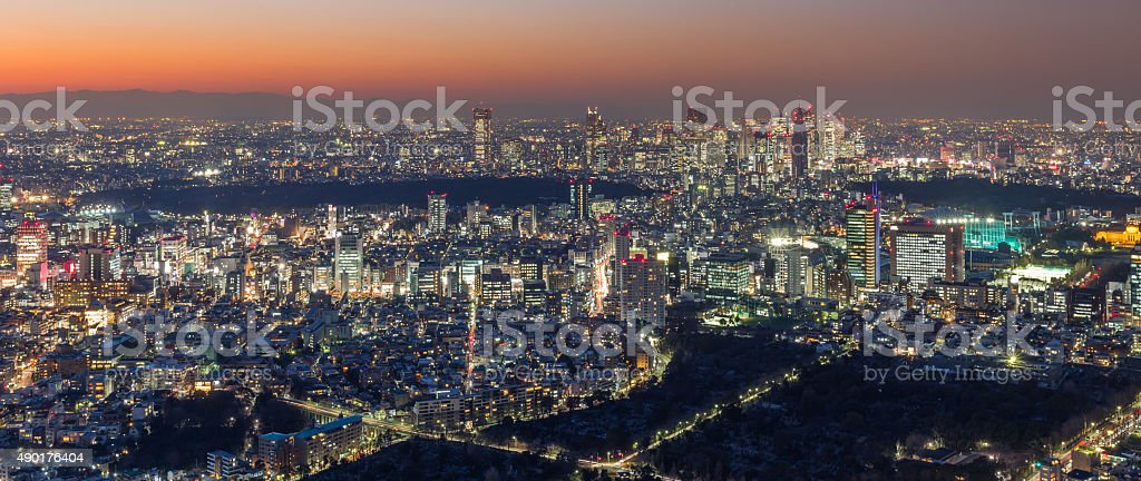 View of Tokyo Skyline Tokyo, Japan. stock photo