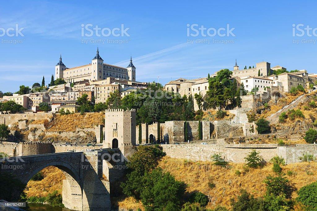 View of Toledo with Puente de Alcantara stock photo