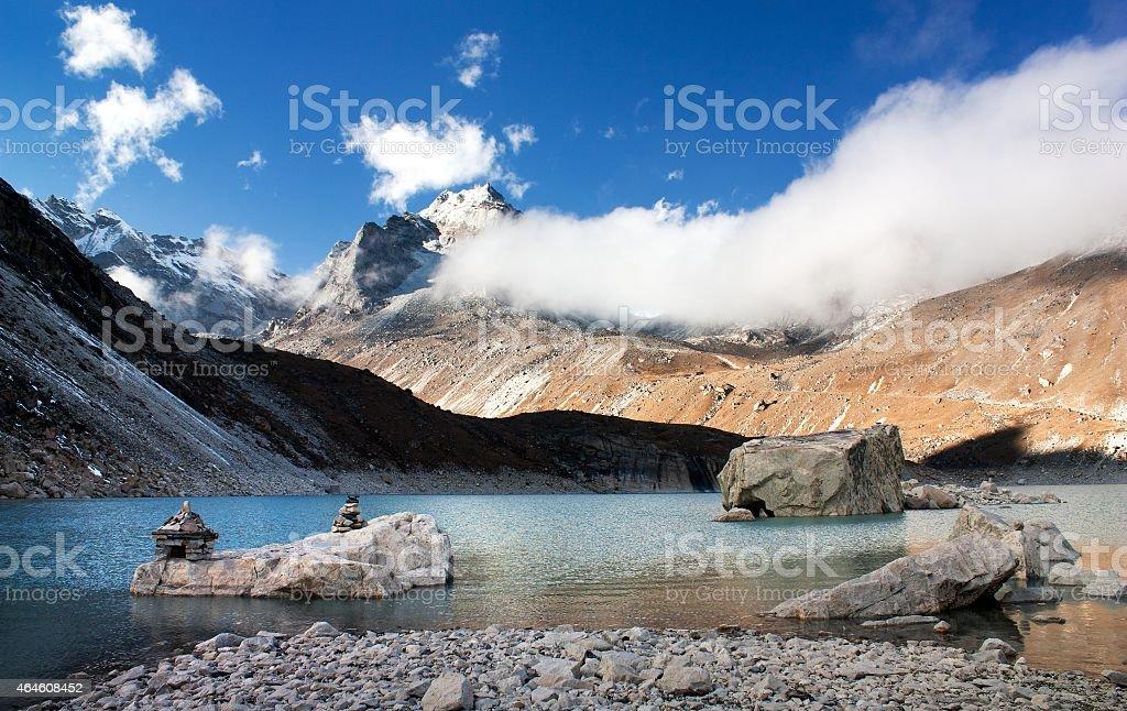 view of Tonak Tsho lake stock photo