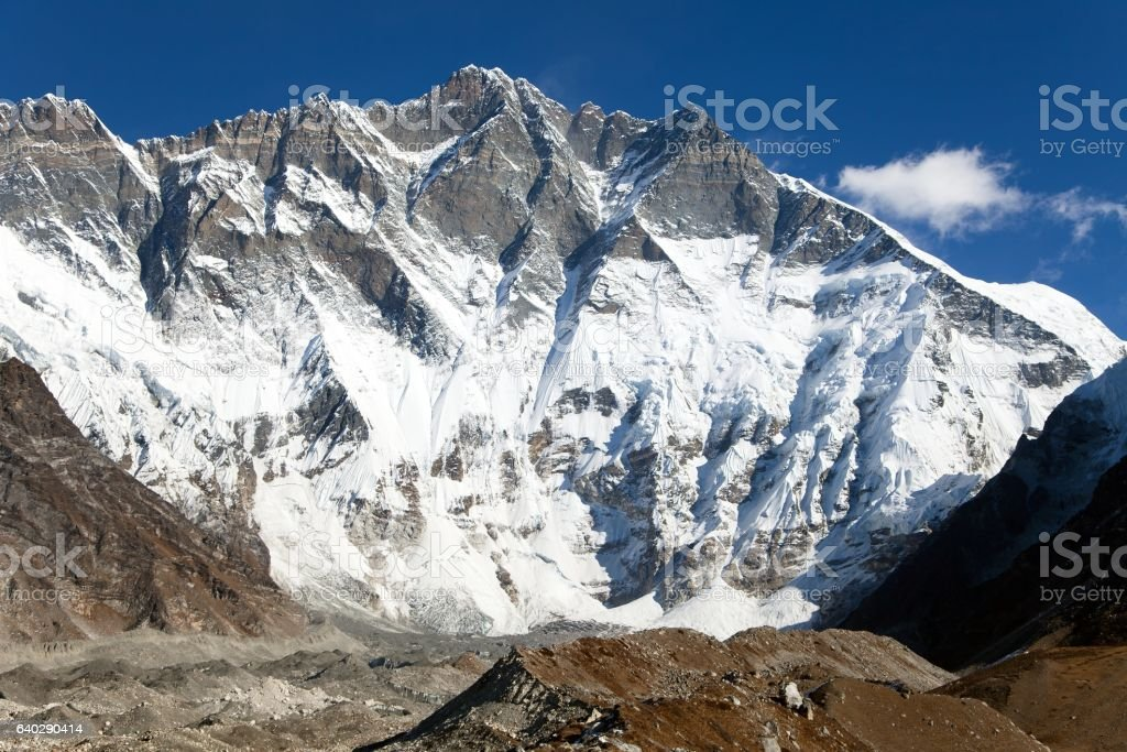 View of top of Lhotse, South rock face stock photo