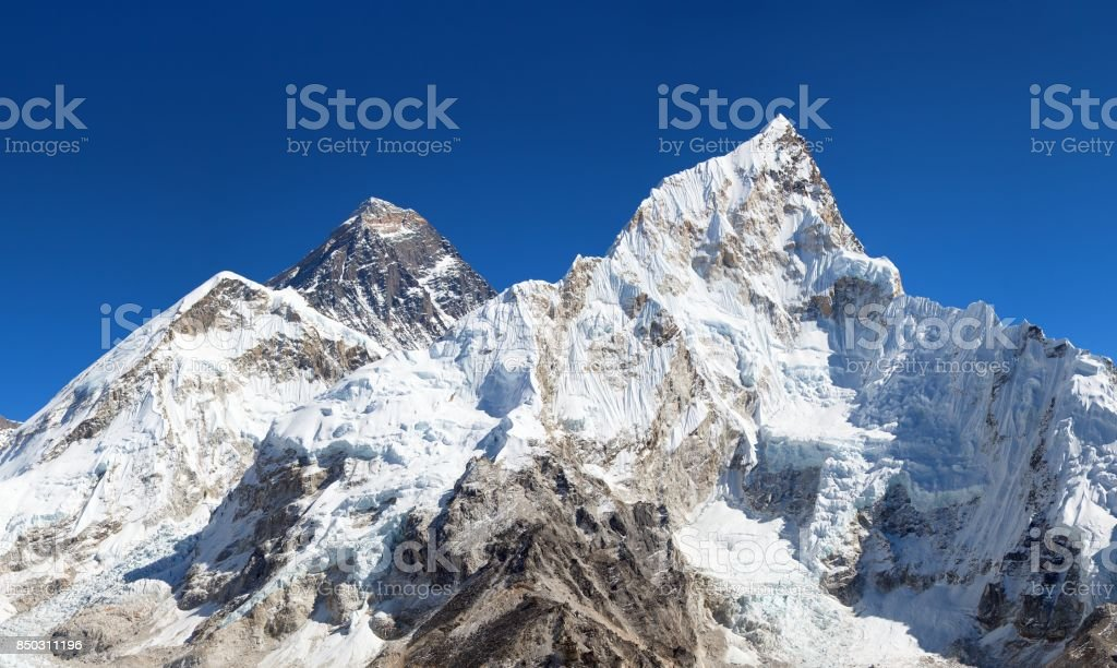 View of top of Mount Everest and Nuptse stock photo