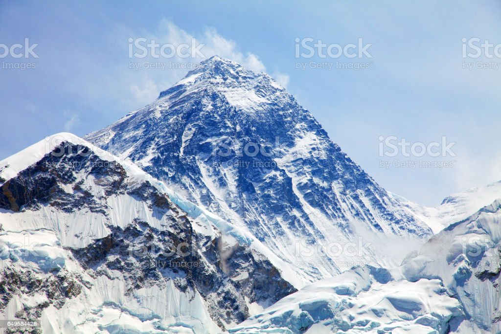 View of top of Mount Everest from Kala Patthar stock photo