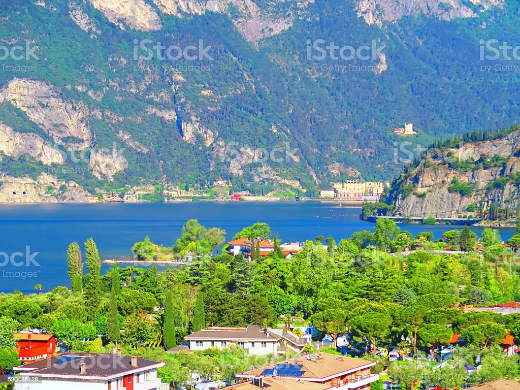 View of Torbole and Lake Garda, Trentino, Italy stock photo