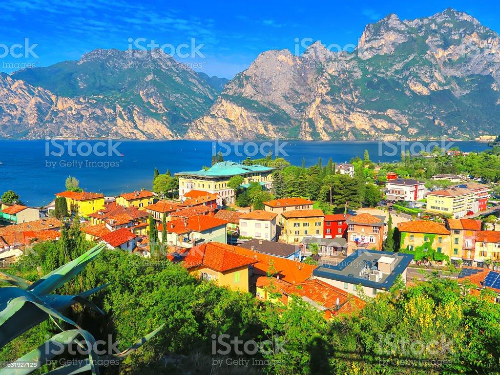 View of Torbole,Trentino, Italy stock photo