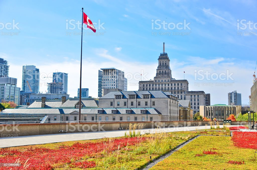 View of Toronto skyline from City Hall in autumn stock photo