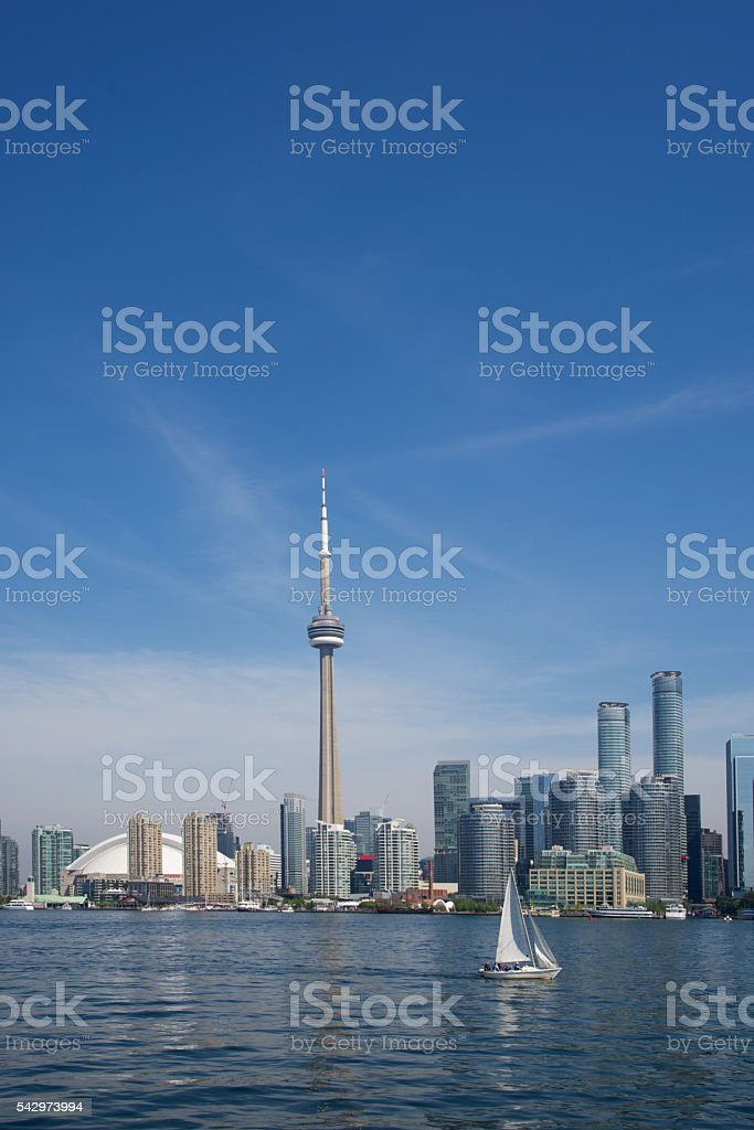 View of Toronto Skyline from Lake Ontario stock photo