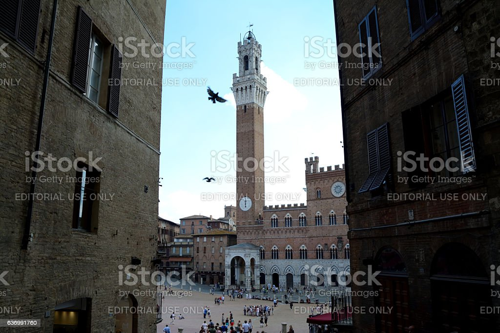 View of Torre del Mangia tower and Palazzo Pubblico. stock photo