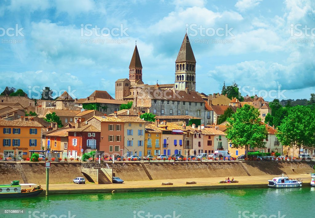 View of Tournus, a beautiful village of Burgundy stock photo