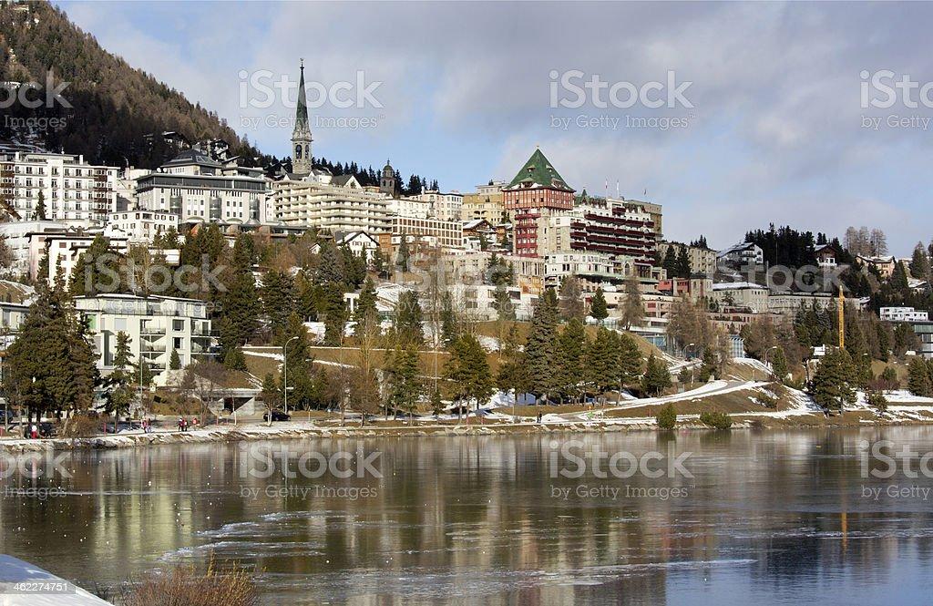 View of town and lake St. Moritz, Switzerland stock photo