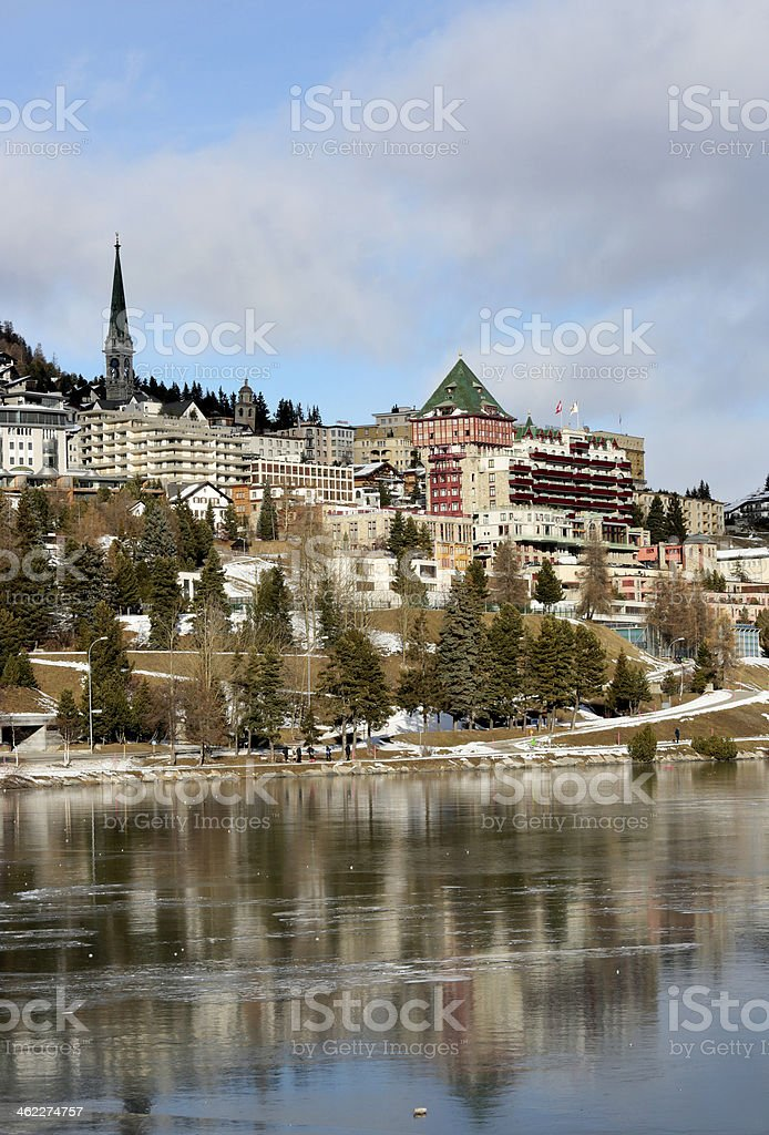 View of town and lake St. Moritz, Switzerland stock photo