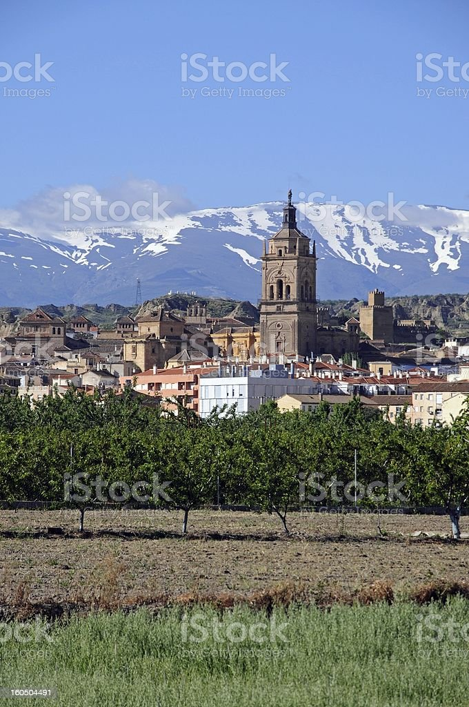 View of town, Guadix, Andalusia, Spain. stock photo