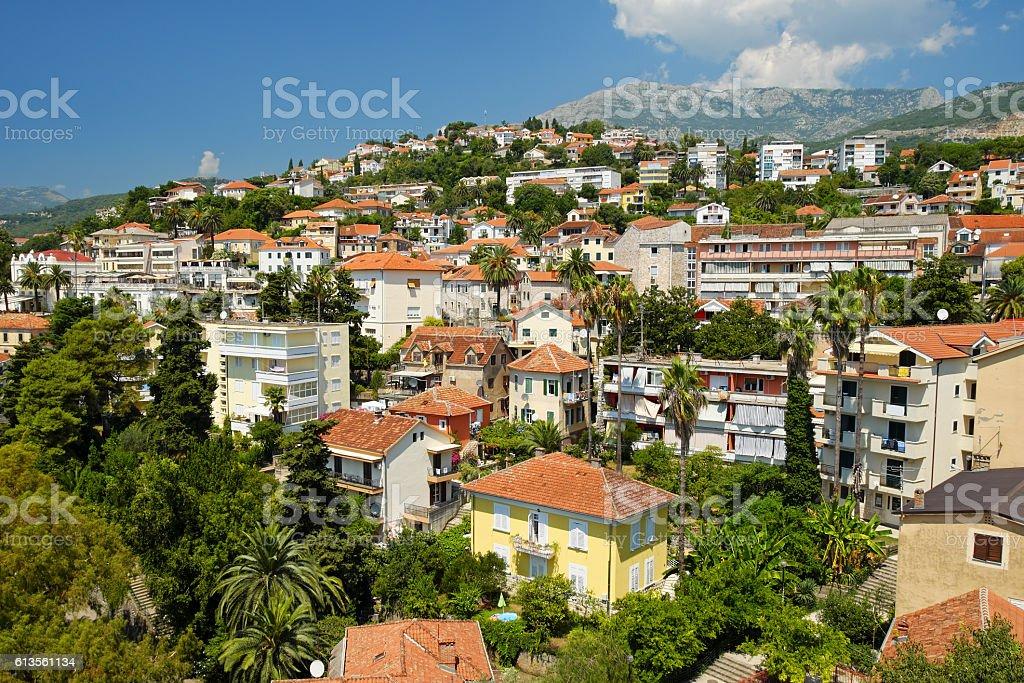 View of town Herceg Novi, Montenegro stock photo