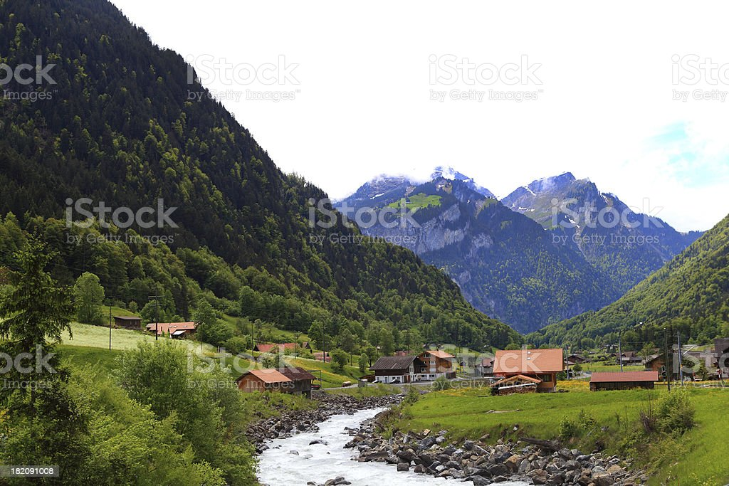 View of town. side way to jungfraujoch stock photo