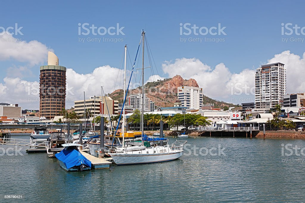View of Townsville, Queensland with marina and hill stock photo