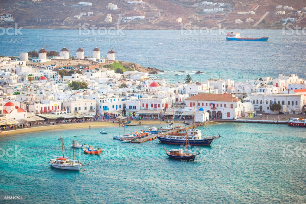 View of traditional greek village with white houses on Mykonos Island, Greece, stock photo