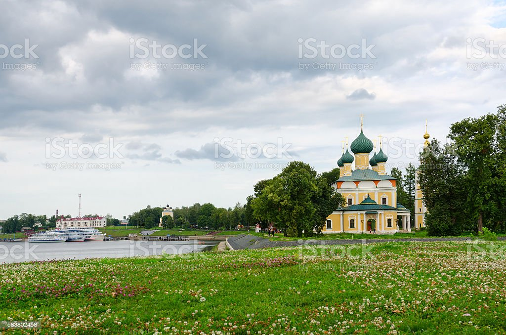 View of Transfiguration of Savior Cathedral and river pier, Uglich stock photo