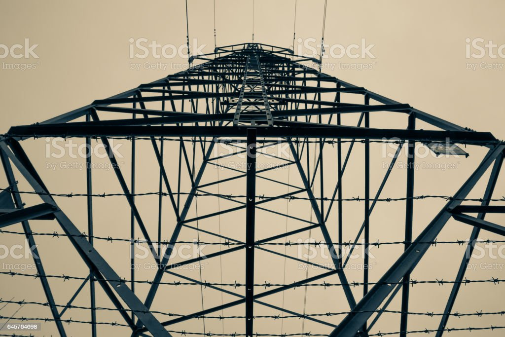 View of transmission tower (electricity pylon) stock photo