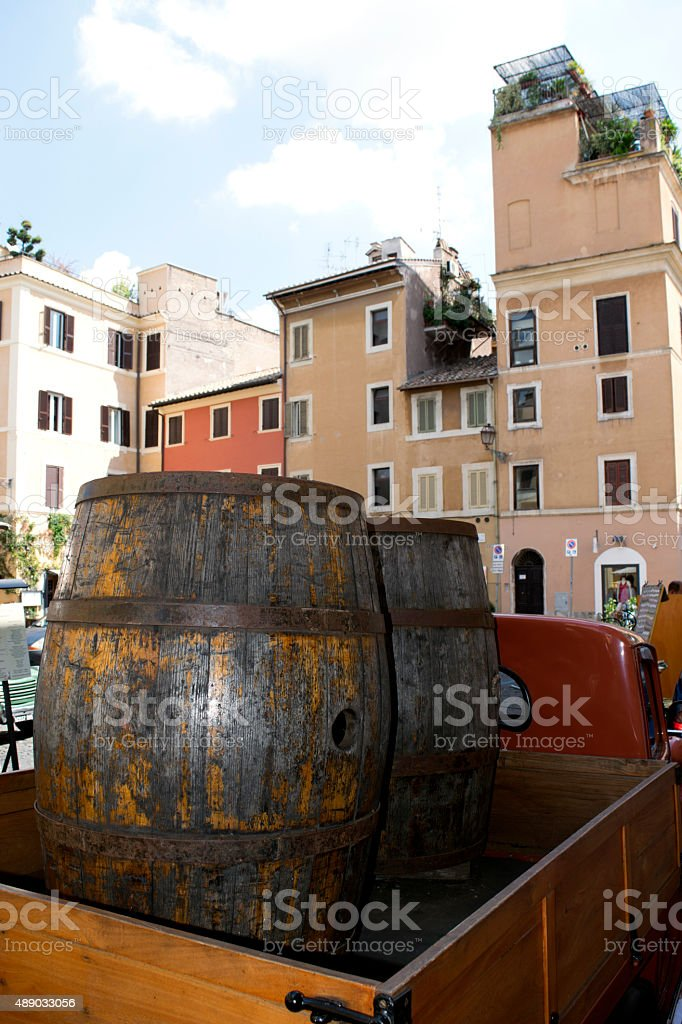 view of trastevere rione stock photo