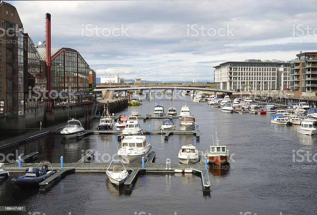 View of Trondheim with the Nidelva river outlet. stock photo