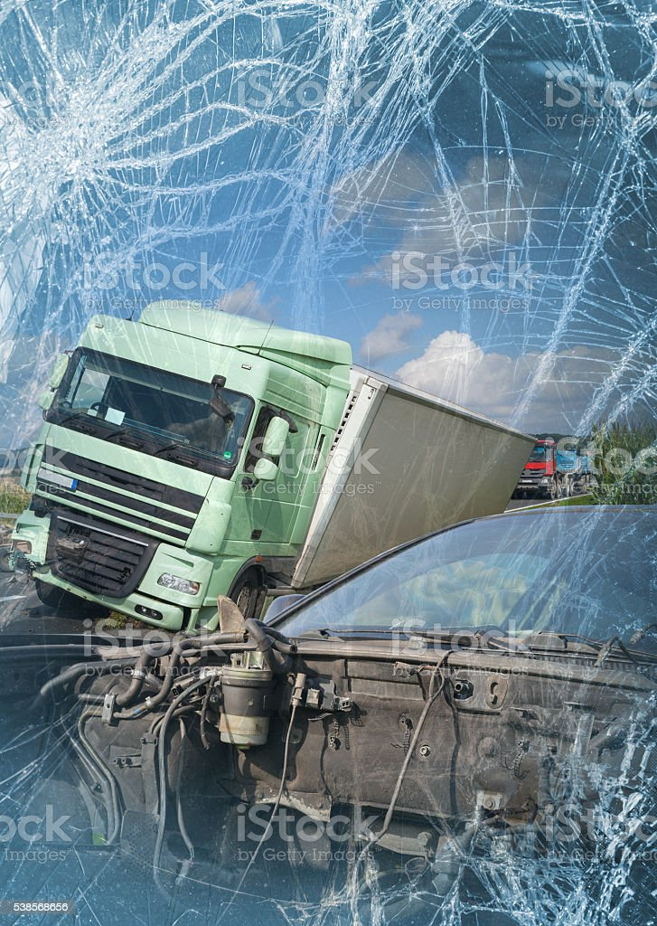View of truck and car in an accident stock photo