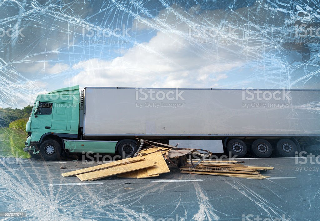 View of truck in an accident stock photo