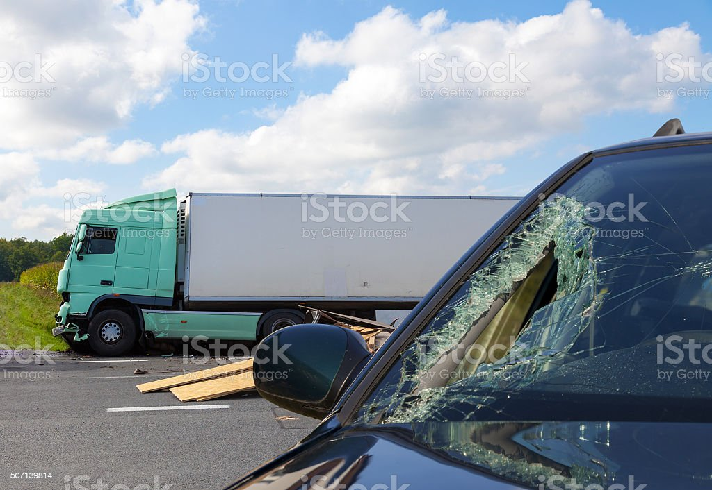 View of truck in an accident with car stock photo