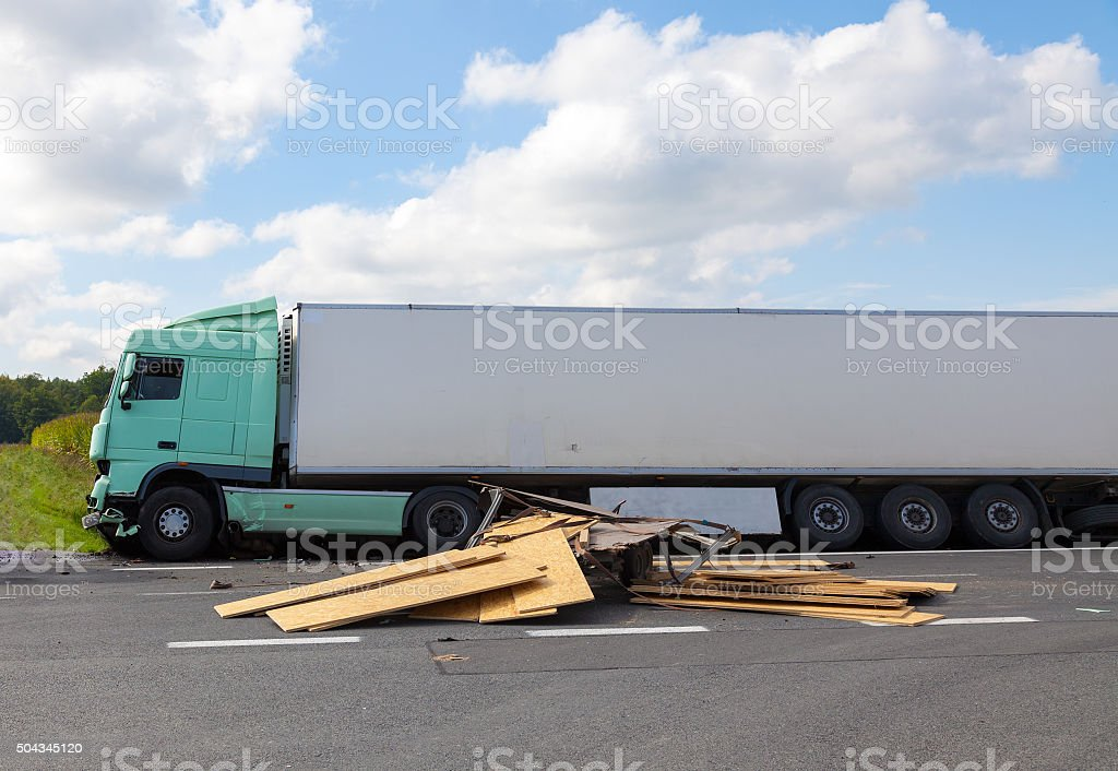 View of truck on an highway in an accident stock photo