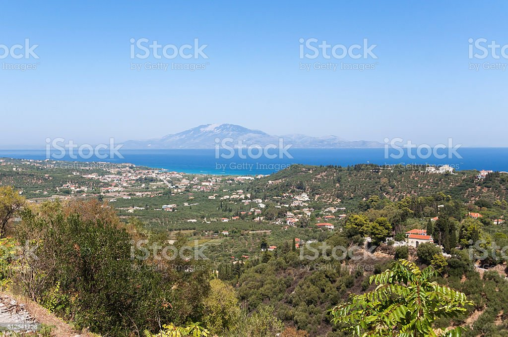 View of Tsilivi on Zakynthos stock photo