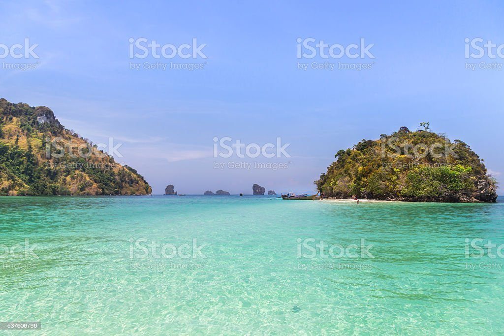 view of tub island in the andaman sea krabi, Thaiand. stock photo