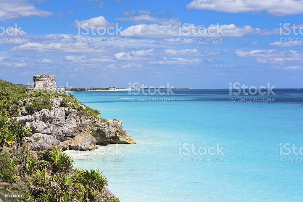 View of Tulum Ruins on a beach in Riviera Maya, Mexico stock photo