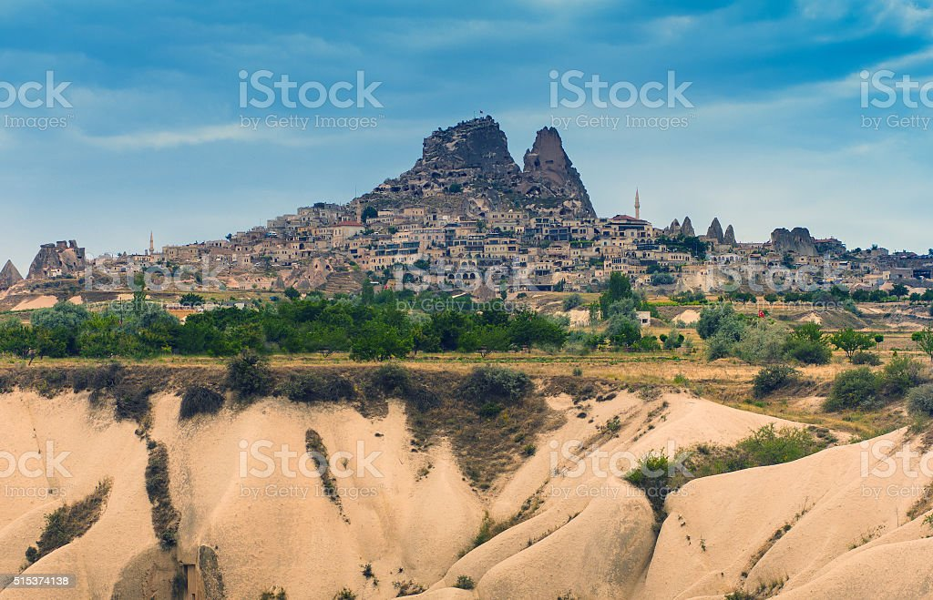 View of turkish fortress Uchisar, landscape in Cappadocia, Turkey. stock photo