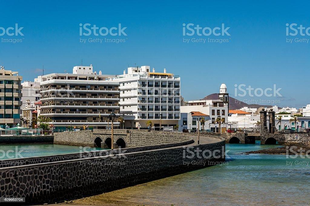 View of two bridges leading to Saint Gabriel castle, Arrecife stock photo