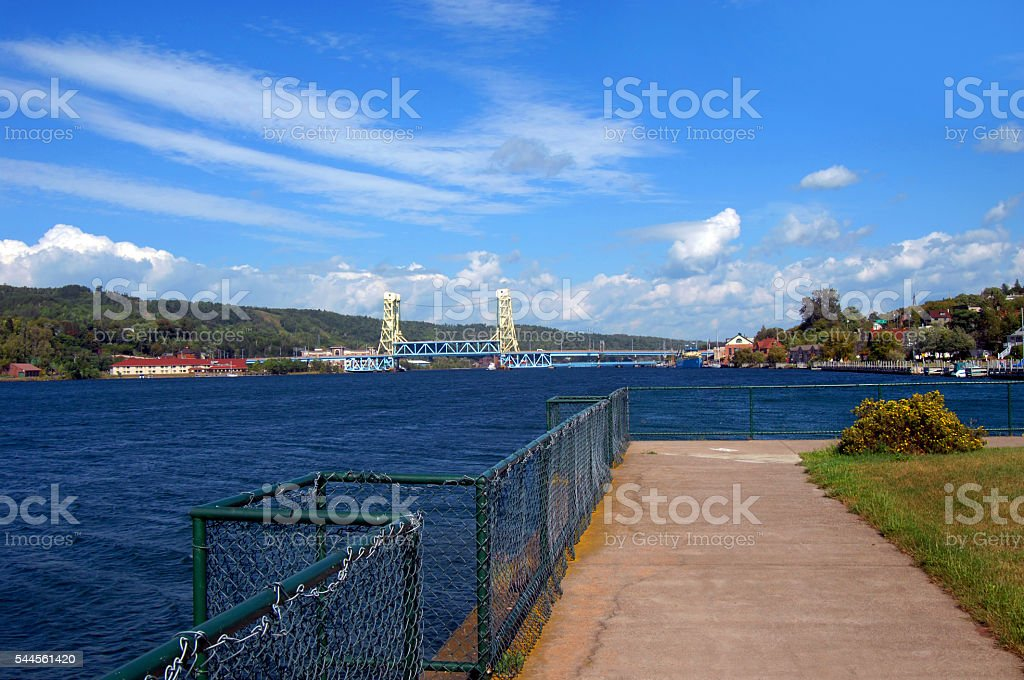 View of Two Cities Connected By Drawbridge stock photo