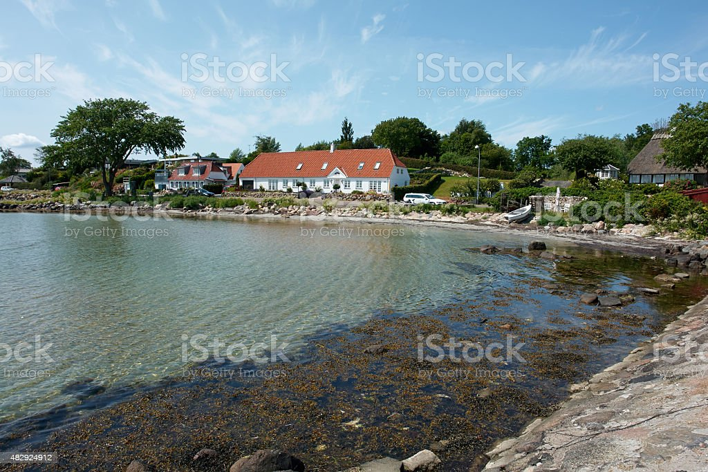 View of typical Danish houses Funen Denmark stock photo