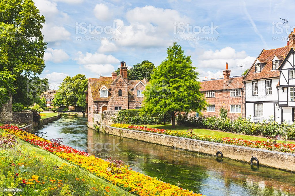 View of typical houses and buildings in Canterbury, England stock photo